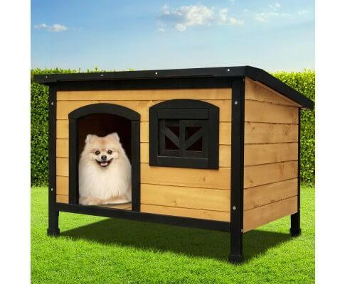 Dog Kennel w Waterproof Black Asphalt Pitch Roof Pet Dog House Medium