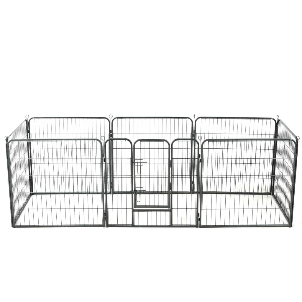 Dog Playpen 8 Panels Steel 80x80 cm Black Everyday Pets