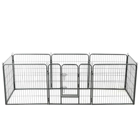 Image of Dog Playpen 8 Panels Steel 80x80 cm Black Everyday Pets