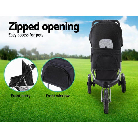 Image of Dog Pram with Zipped Mesh Cover for Easy Access