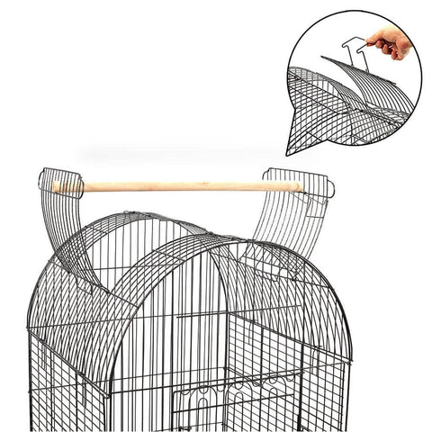 Image of Dome Shape Open Roof Design Wrought Iron Bird Cage