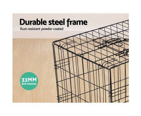 Durable Pet Cage Sturdy Steel Wire With Black Powder Coated Finish