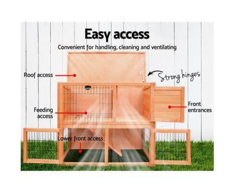 Easy Access Wooden Pet Rabbit Hutch