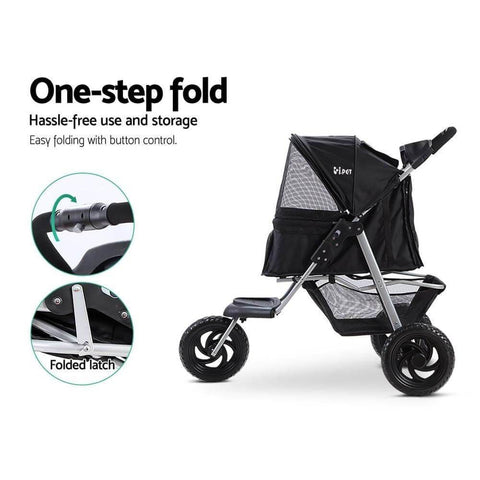 Image of Easy Storage One Step Foldable Pet Dog Puppy Pram Stroller