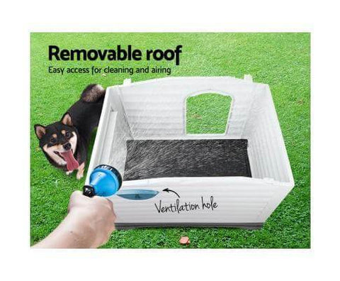 Image of Easy To Assemble Removable Roof Blue Pet Kennel