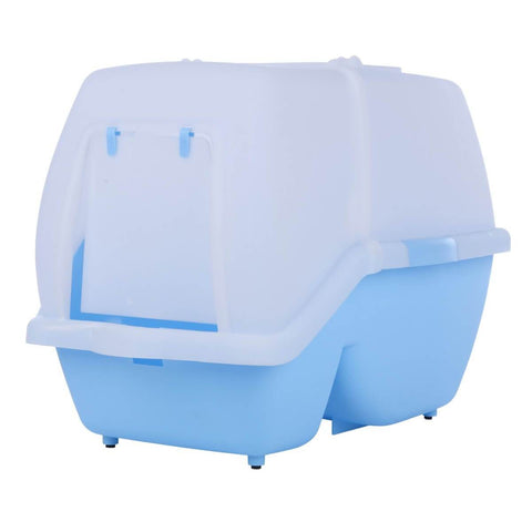 Image of Easy to Clean 2 in 1 Large Hooded Cat Litter Tray with Flap Door 62x44x45cm