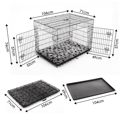 Image of Extra Large 42  Inch Collapsible Dog Crate Dimension and Measurement
