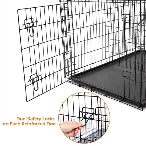 Image of Extra Large 42  Inch Collapsible Dog Crate Dual Safety Lock