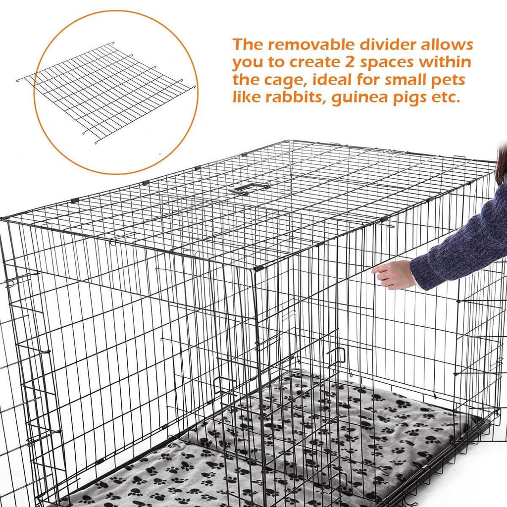 Extra Large 42  Inch Collapsible Dog Crate Removable Divider