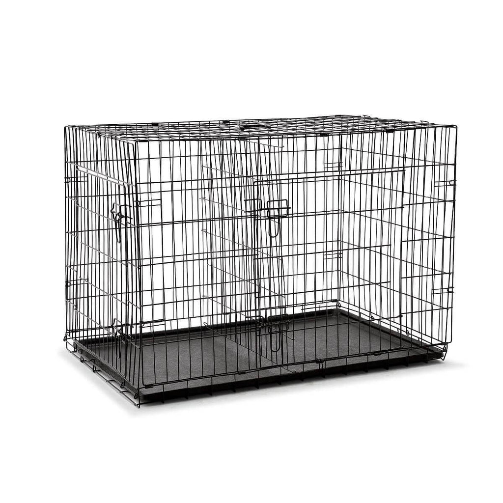 Extra Large 42  Inch Collapsible Dog Crate Front and Side with Removable Divider