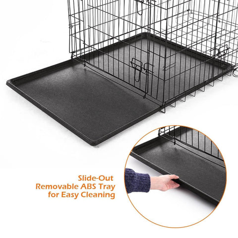 Image of Extra Large 42  Inch Collapsible Dog Crate Slide Out Removable ABS Tray for Easy Cleaning