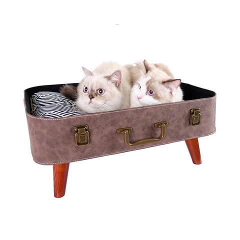 Decorative Retro Pet Bed Suitcase Wide Base Dog Bed Soft Quilted Dog Couch - Brown