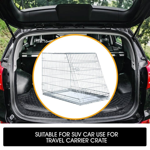 Image of Foldable Dog Kennel Metal Wire Cage Crate W Tray Travel Carry Suitable For SUV Car Use for Travel Carrier Crate