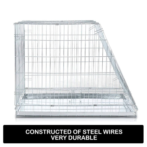 Image of Foldable Dog Kennel Metal Wire Cage Crate W Tray Travel Carry Suitable For SUV Durable Steel Wires