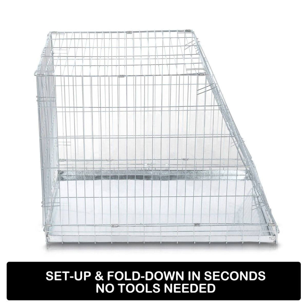 Foldable Dog Kennel Metal Wire Cage Crate W Tray Travel Carry Suitable For SUV Easy Install Set-up and Fold Down
