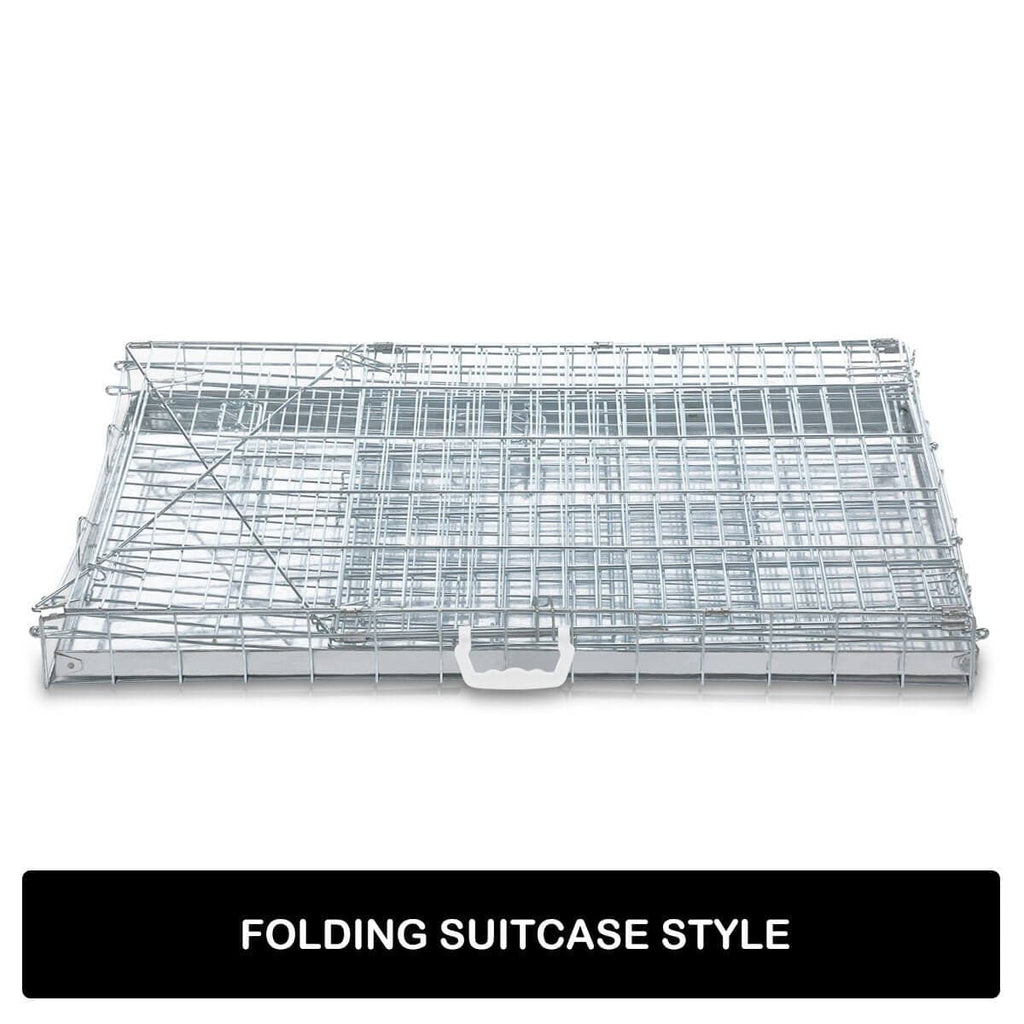 Foldable Dog Kennel Metal Wire Cage Crate W Tray Travel Carry Suitable For SUV Folding Suitcase Style