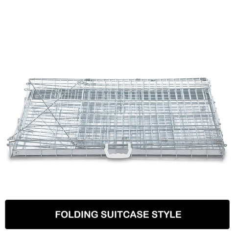 Image of Foldable Dog Kennel Metal Wire Cage Crate W Tray Travel Carry Suitable For SUV Folding Suitcase Style