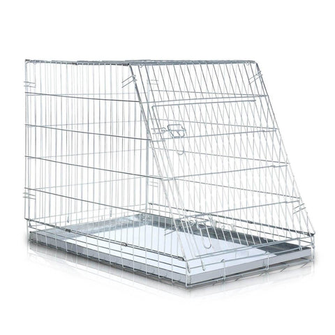 Image of Foldable Dog Kennel Metal Wire Cage Crate W Tray Travel Carry Suitable For SUV Front and Side