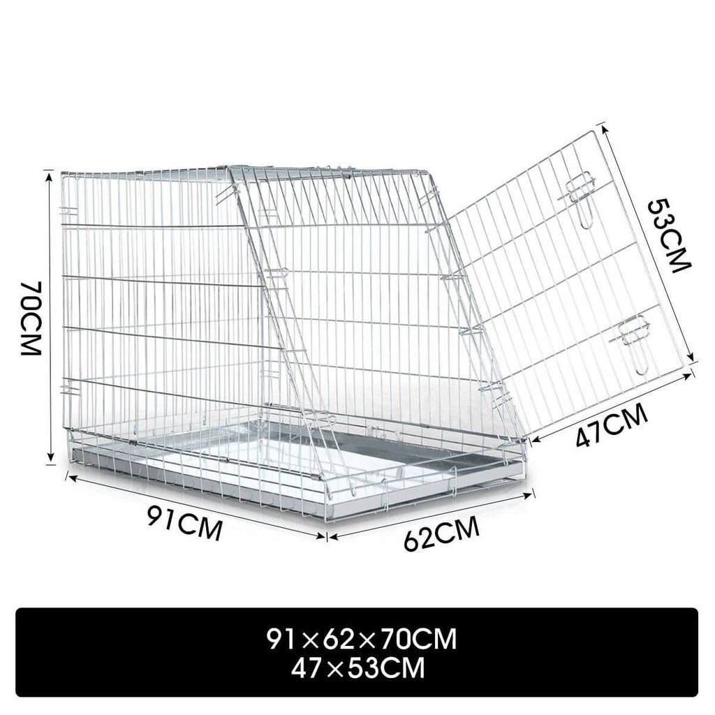 Foldable Dog Kennel Metal Wire Cage Crate W Tray Travel Carry Suitable For SUV Measurement and Diameter