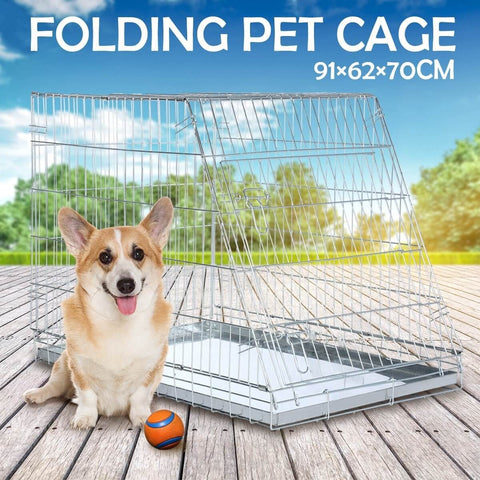 Image of Foldable Dog Kennel Metal Wire Cage Crate W Tray Travel Carry Suitable For SUV