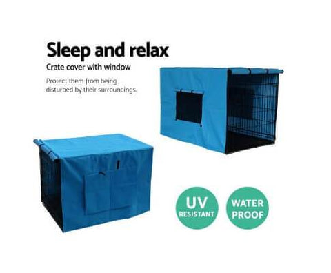 Image of Foldable Metal Dog Cage Crate Blue Cover with Window