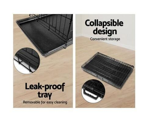 Foldable Metal Pet Cage With Leak Proof Slide Out Tray