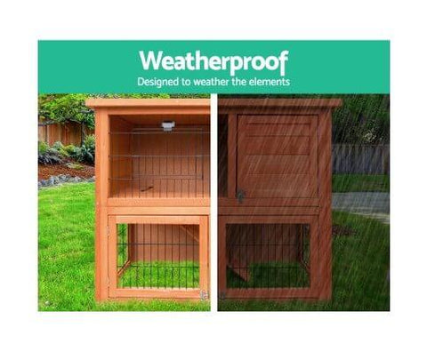 Image of Fully Enclosed Sleeping Area Rabbit Pet Cage Hutch Weatherproof