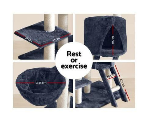 Image of Fun Cat Rest Exercise Play Cat Gym Tower Scratch Post 244cm