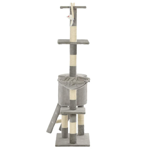 Image of Grey Cat Tree with Sisal Scratching Posts 138 cm Soft Plush Carpeted Poles Everyday Pets