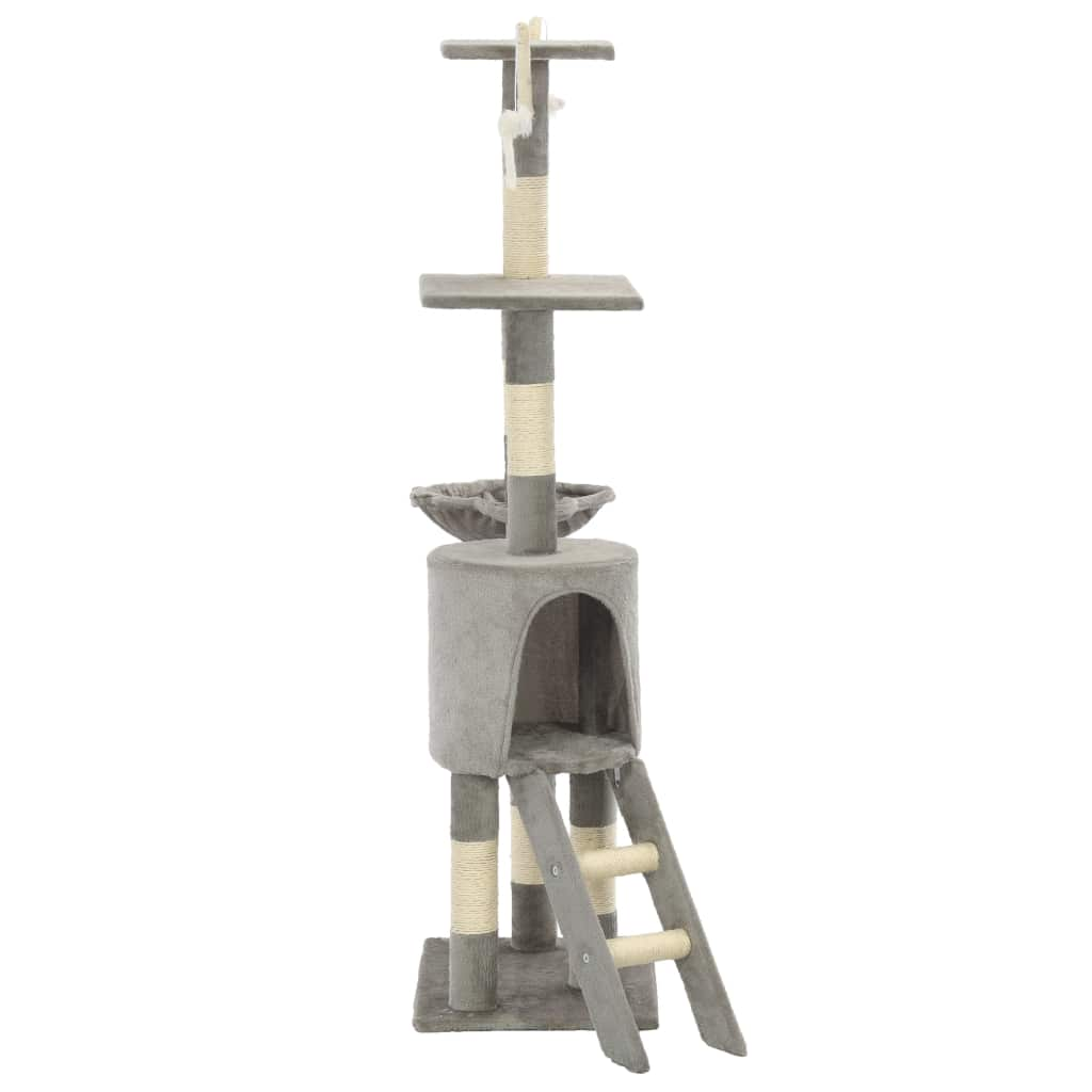 Grey Cat Tree with Sisal Scratching Posts 138 cm Sturdy and Stable Base Everyday Pets