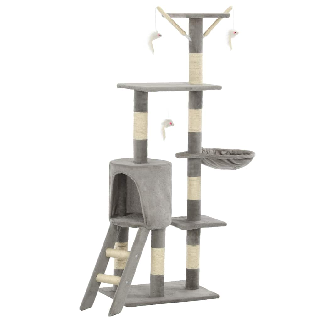Grey Cat Tree with Sisal Scratching Posts 138 cm Everyday Pets