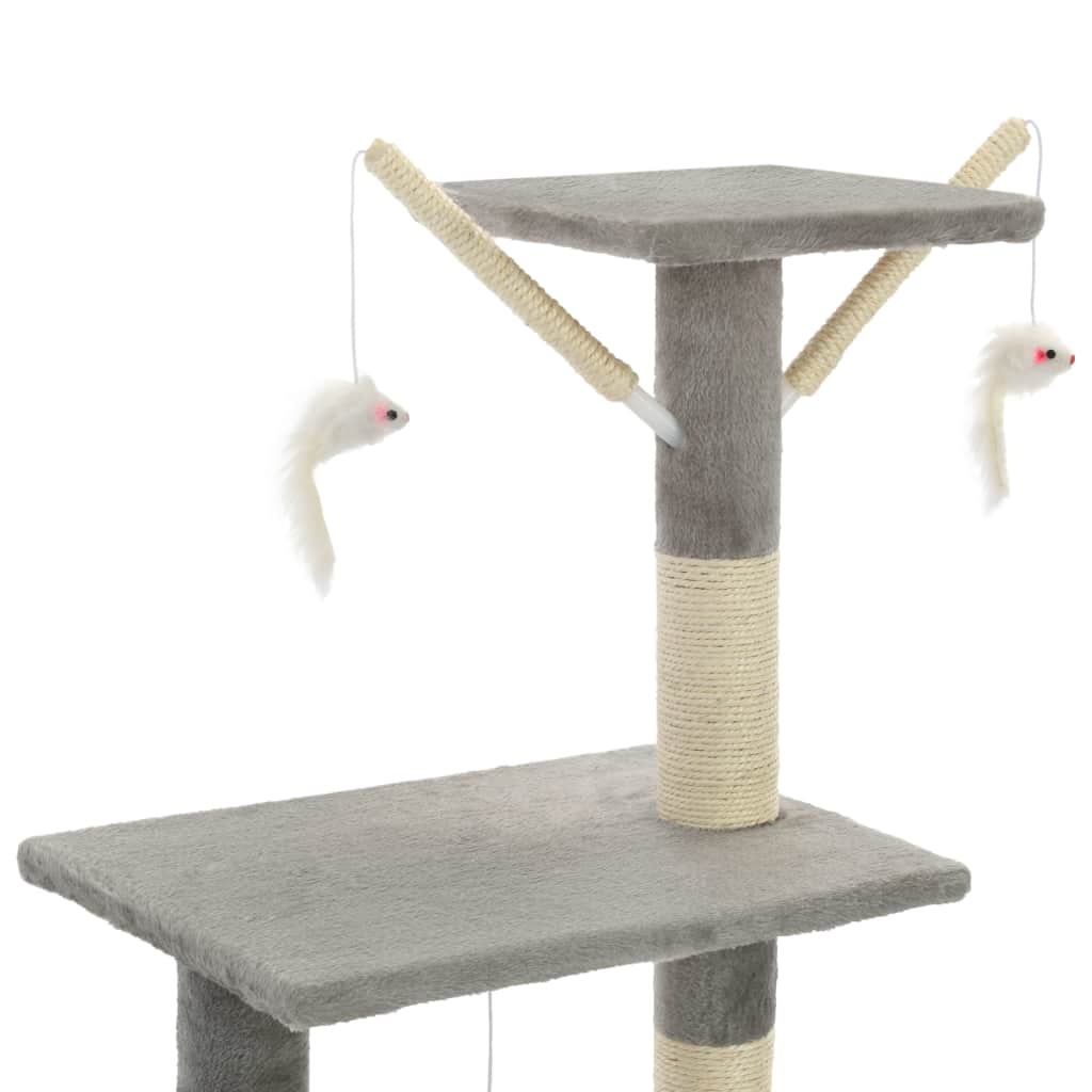 Grey Cat Tree with Sisal Scratching Posts 138 cm with 3 Mouse Toys Everyday Pets