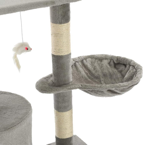 Image of Grey Cat Tree with Sisal Scratching Posts 138 cm Cosy Resting Place  Everyday Pets