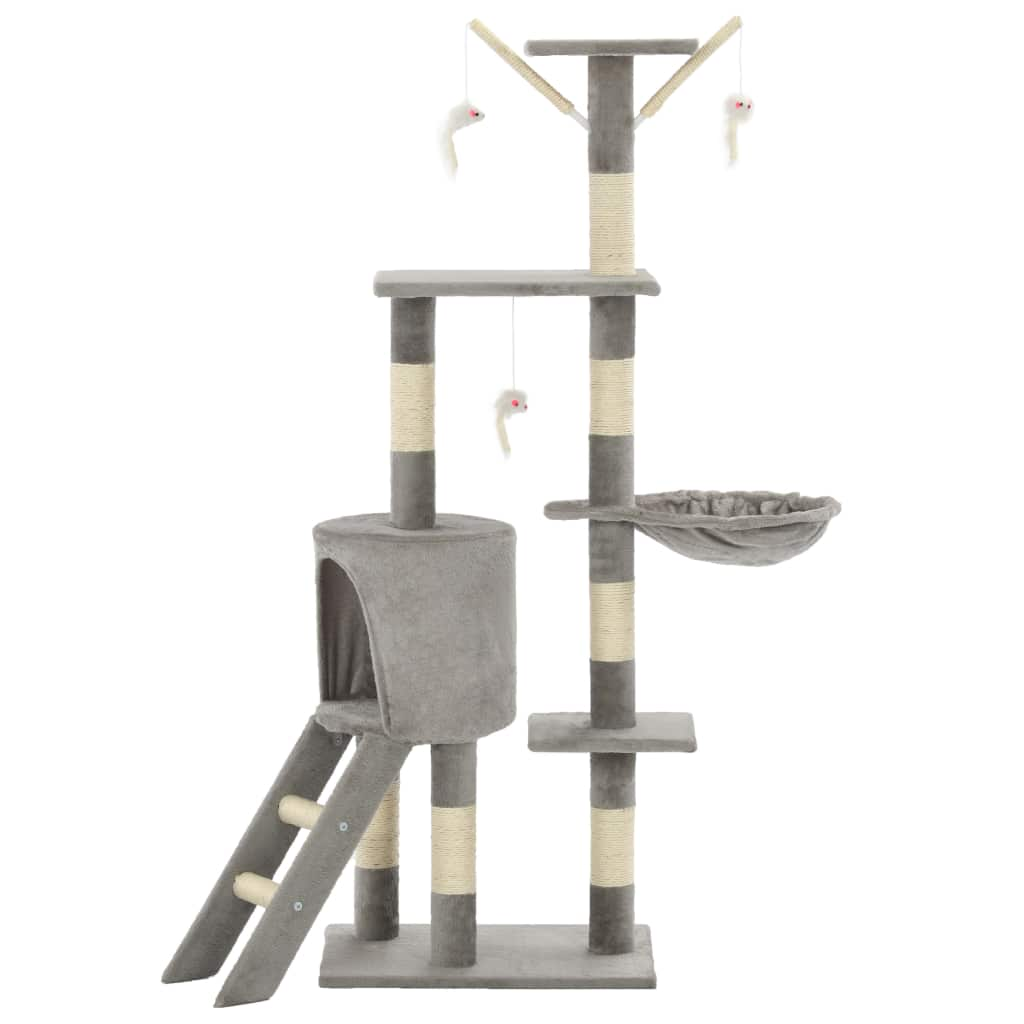 Grey Cat Tree with Sisal Scratching Posts 138 cm Indoor Cat Condo Everyday Pets