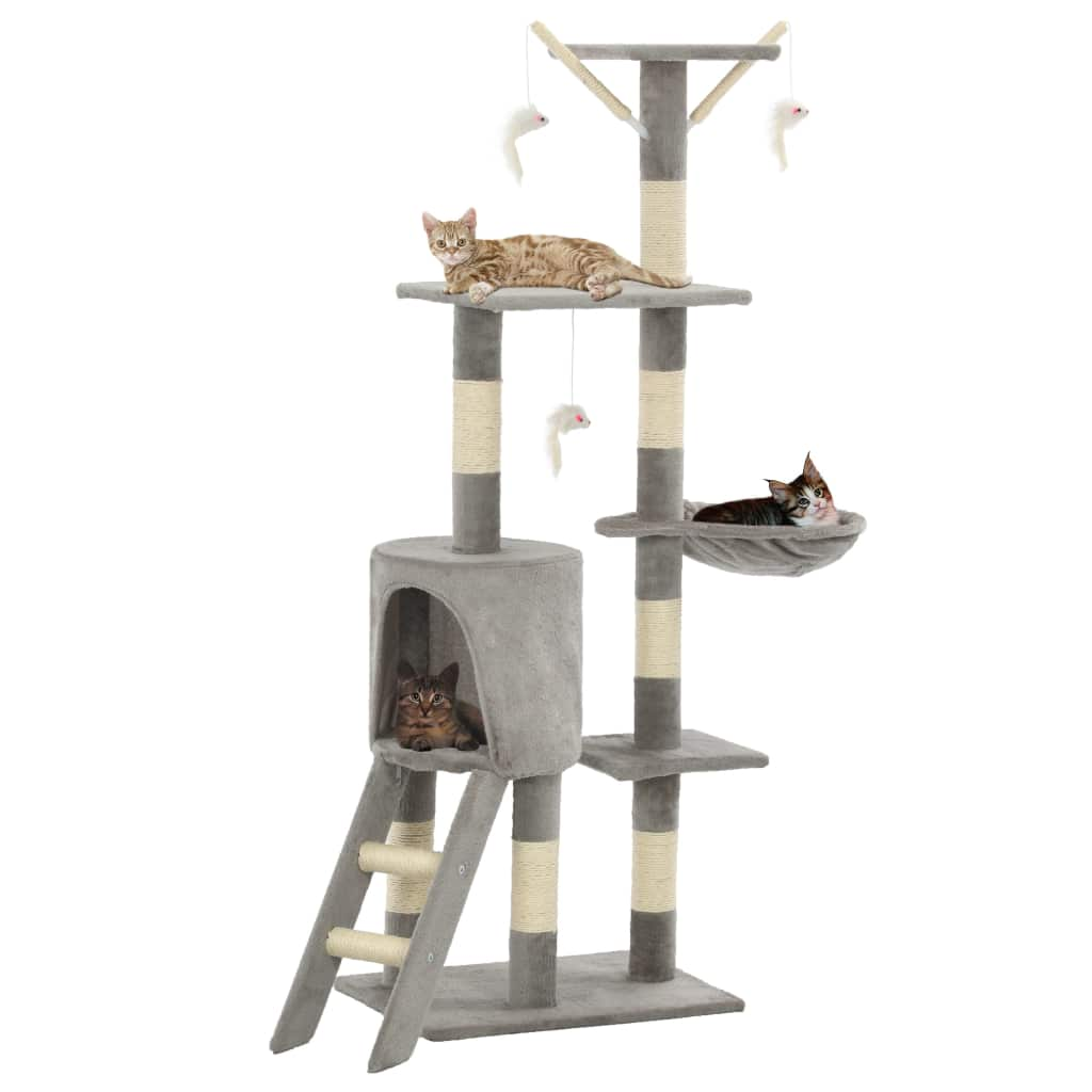 Grey Cat Tree with Sisal Scratching Posts 138 cm High Quality Cat Fun Play Centre Everyday Pets