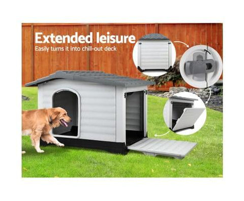 Grey Shelter Kennel With Extendable Side