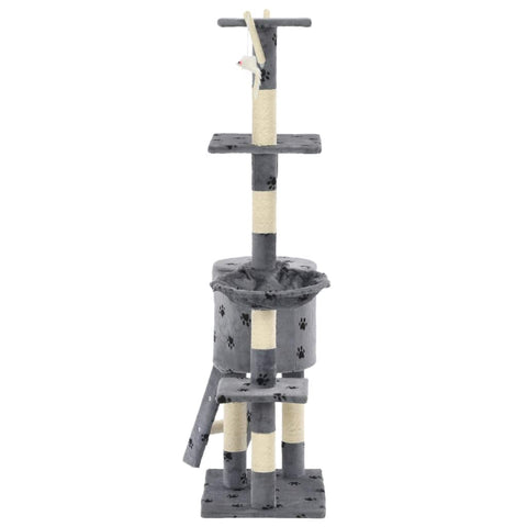 Image of Grey with Paw Prints Cat Tree with Sisal Scratching Posts 138 cm Soft Plush Carpeted Poles Everyday Pets