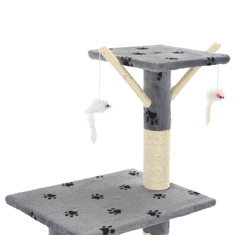 Image of Grey with Paw Prints Cat Tree with Sisal Scratching Posts 138 cm with 3 Mouse Toys Everyday Pets