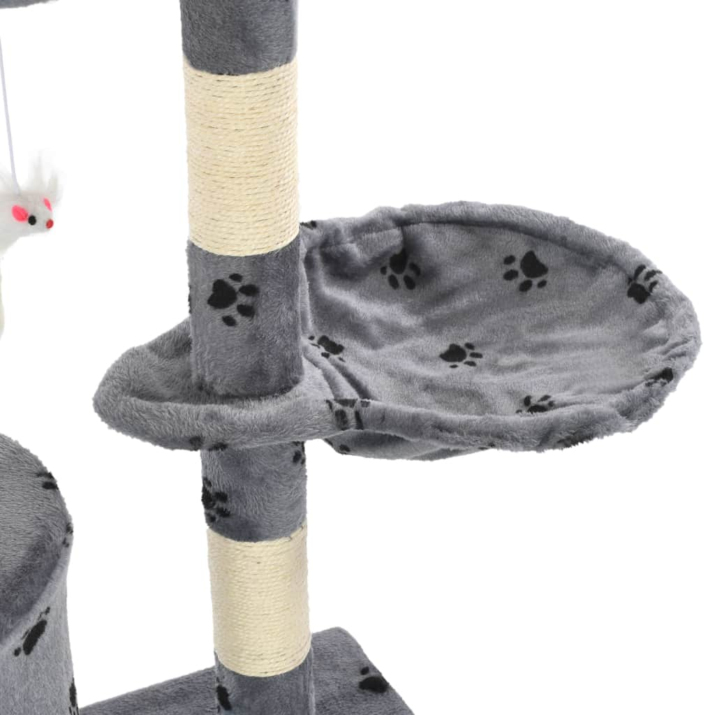 Grey with Paw Prints Cat Tree with Sisal Scratching Posts 138 cm Cosy Resting Place  Everyday Pets