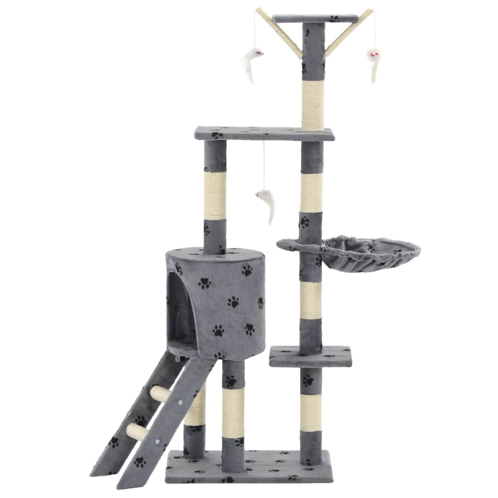 Grey with Paw Prints Cat Tree with Sisal Scratching Posts 138 cm Indoor Cat Condo Everyday Pets