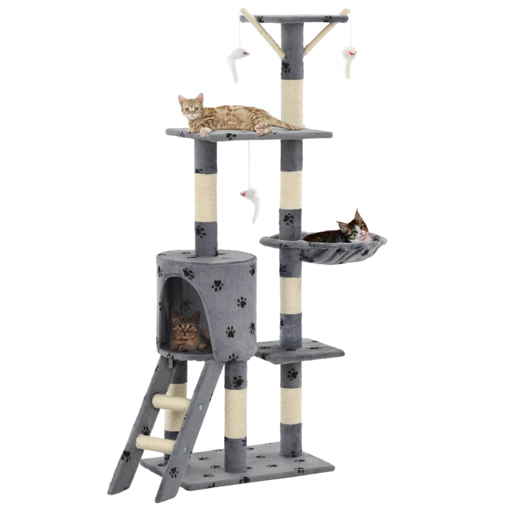 Grey with Paw Prints Cat Tree with Sisal Scratching Posts 138 cm High Quality Cat Fun Play Centre Everyday Pets