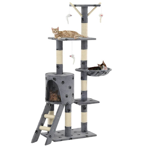 Image of Grey with Paw Prints Cat Tree with Sisal Scratching Posts 138 cm High Quality Cat Fun Play Centre Everyday Pets