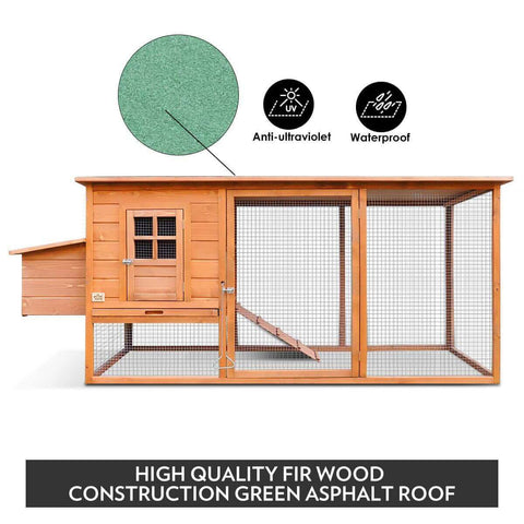 Image of Quality Fir Chicken Coop Run House Outdoor Spacious Play Area Pet Rabbit Ducks Guinea Pigs Chicken Cage Nesting Box Green Asphalt Roof