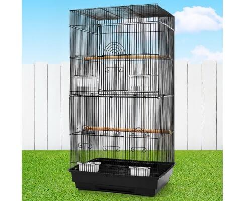 High Quality Bird Cage Non-Toxic Powder Coated Finish Bird Aviary - Black - 47 x 36 x 88cm