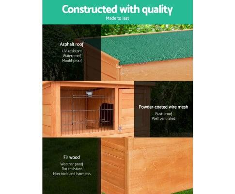 High Quality Fir Green Asphalt Roof Rabbit Pet Hutch