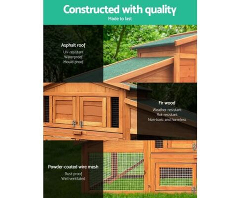 Image of High Quality Fir Wood Green Asphalt Roof Galvanized Mesh Pet Backyard  Chicken Coop