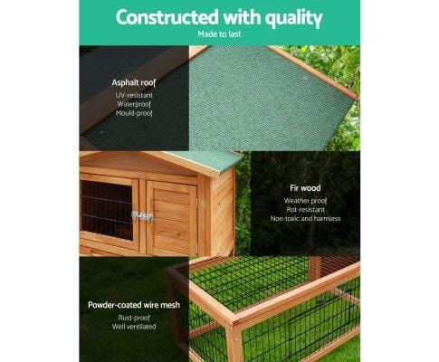 High Quality Fir Wood with Powder Coated Wire and Asphalt Roof Rabbit Pet Hutch Coop