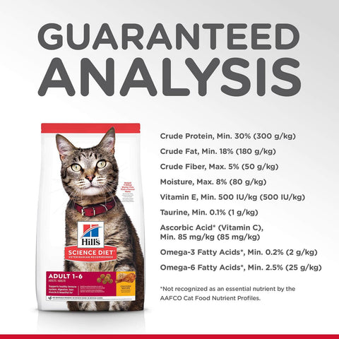 Image of Hill's Adult Cat (1-6) Dry Cat Food Chicken Recipe Guaranteed Analysis