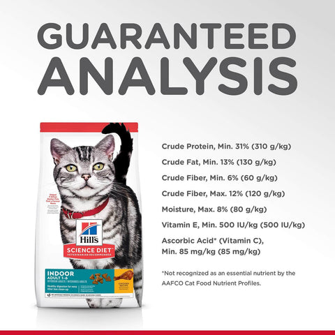 Image of Hill's Adult Cat (1-6) Indoor Dry Cat Food Chicken Recipe Guaranteed Analysis