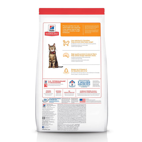 Image of Hill's Adult Cat (1-6) Light Dry Cat Food Chicken Recipe Back